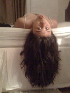 Now this may seem weird but now hang upside down for 4-5 minutes. This helps the blood flow in your scalp.