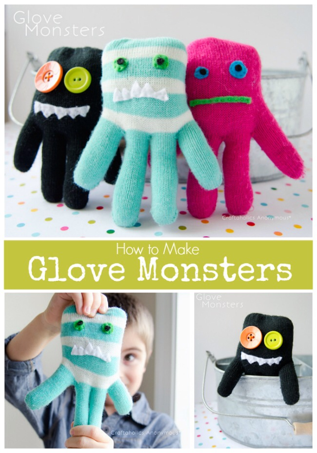 Ever wondered what to do with all those single gloves? Turn them into Glove Monster Softies! These are one of my FAVORITE crafts E.V.E.R.! No joke. These little glove monsters are so fun to make and they were a HIT with my kids.