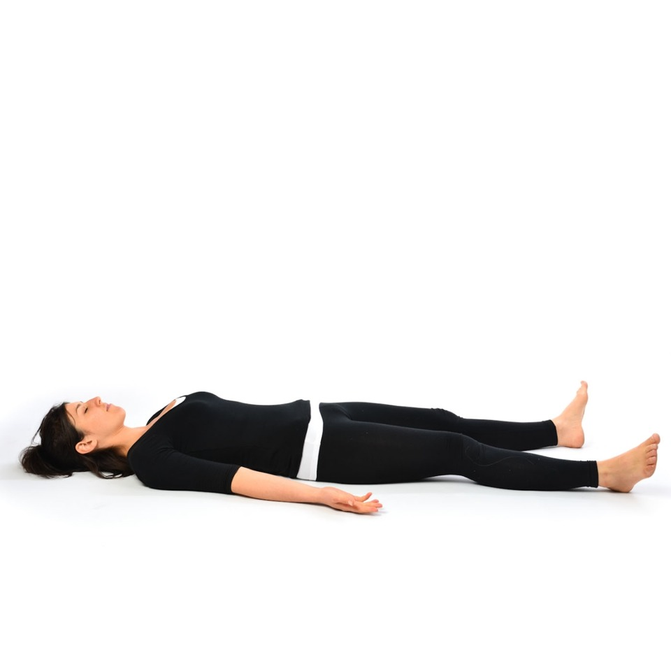 Corpse pose ... Continue inhaling exhaling normally, put your palm facing upwards and away from your body and your legs as relaxed as can be ... Imagine yourself away from all the hustle bustle ....