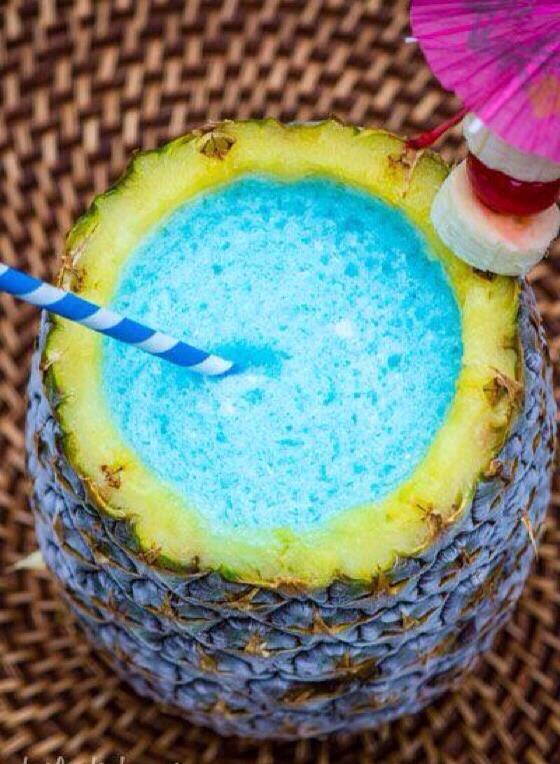 A tropical medley indeed. {Banana Rum, Blue Curacao, & Cream of Coconut)