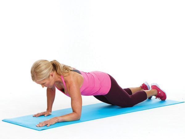Week 4: Army Crawl on Knees  Targets:  Core, arms, and shoulders  Start in a modified plank position, knees on mat and wrists directly under shoulders. Keeping spine straight and abs contracted, lower right forearm to mat and then left forearm, coming into modified forearm plank.