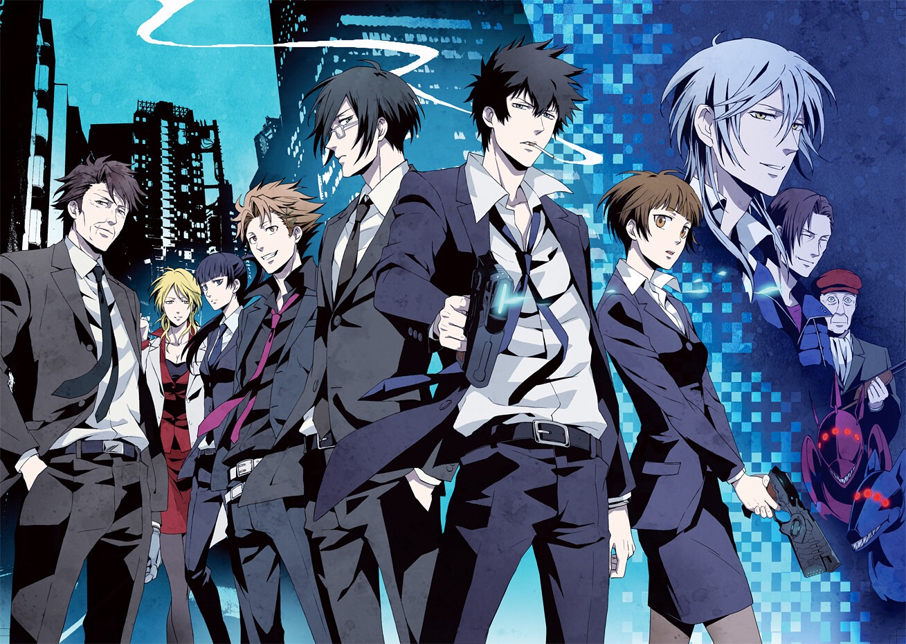 Psycho pass.   Takes place in the future and we follow Agent Akane's adventures trying to maintain social order by tracking down those who are terrorizing the city