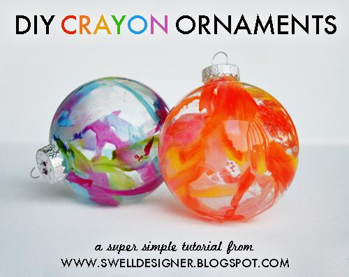 What you need:– Clear glass ornaments (I bought mine at Michaels, please avoid plastic kind as they could melt) – crayons – mini craft knife – protective plastic or newspaper – hair dryer – embellishments as desired