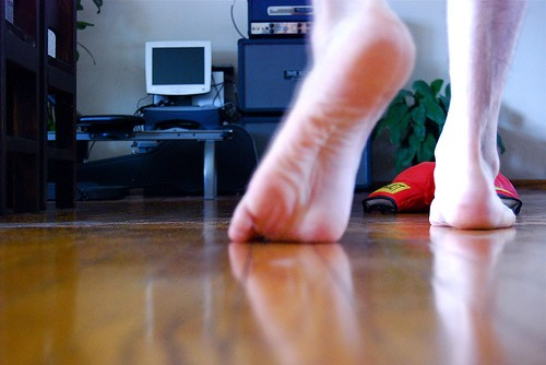 2.  When you get home take off your shoes, but don't walk around barefooted. It spreads more dirt.