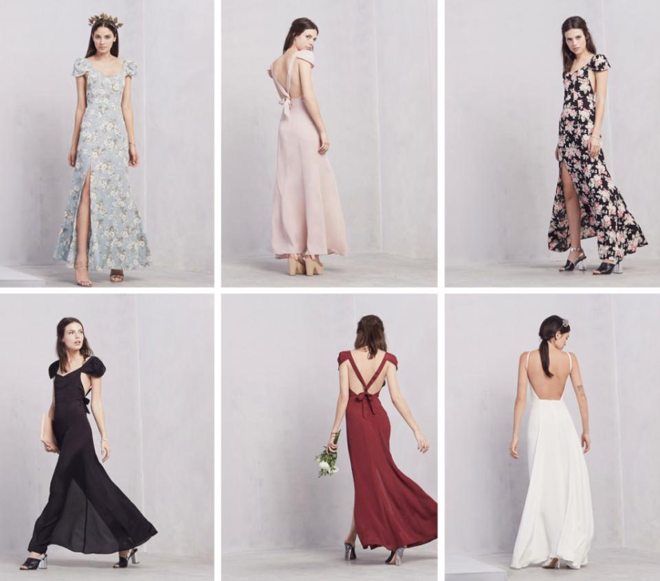 Reformation: The super-hip online street wear just launched a bridal section a couple weeks ago; as u might expect, it's filled with modern, ethereal gowns. And the bride isn't the only one who can shop on offer; there are cute, short cocktail dresses perfect for ur entire bridal party