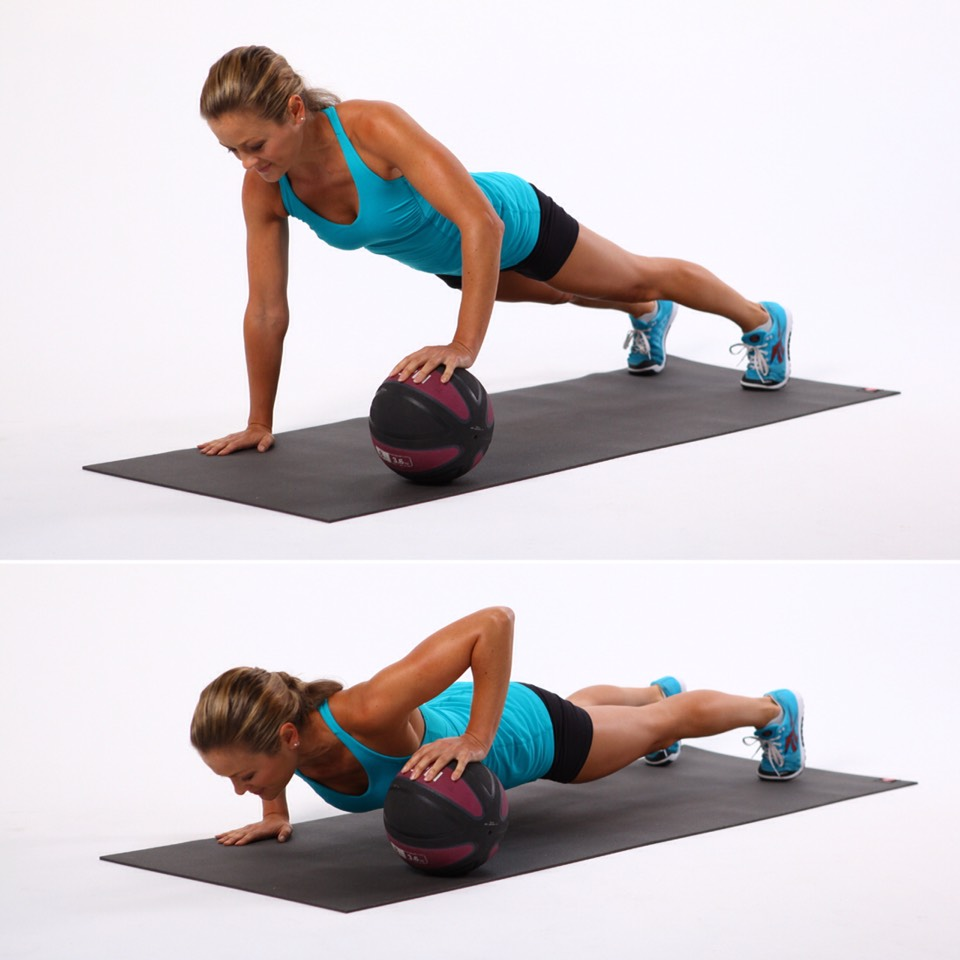 1. Medicine Ball Pushups (4 sets, 8 reps)