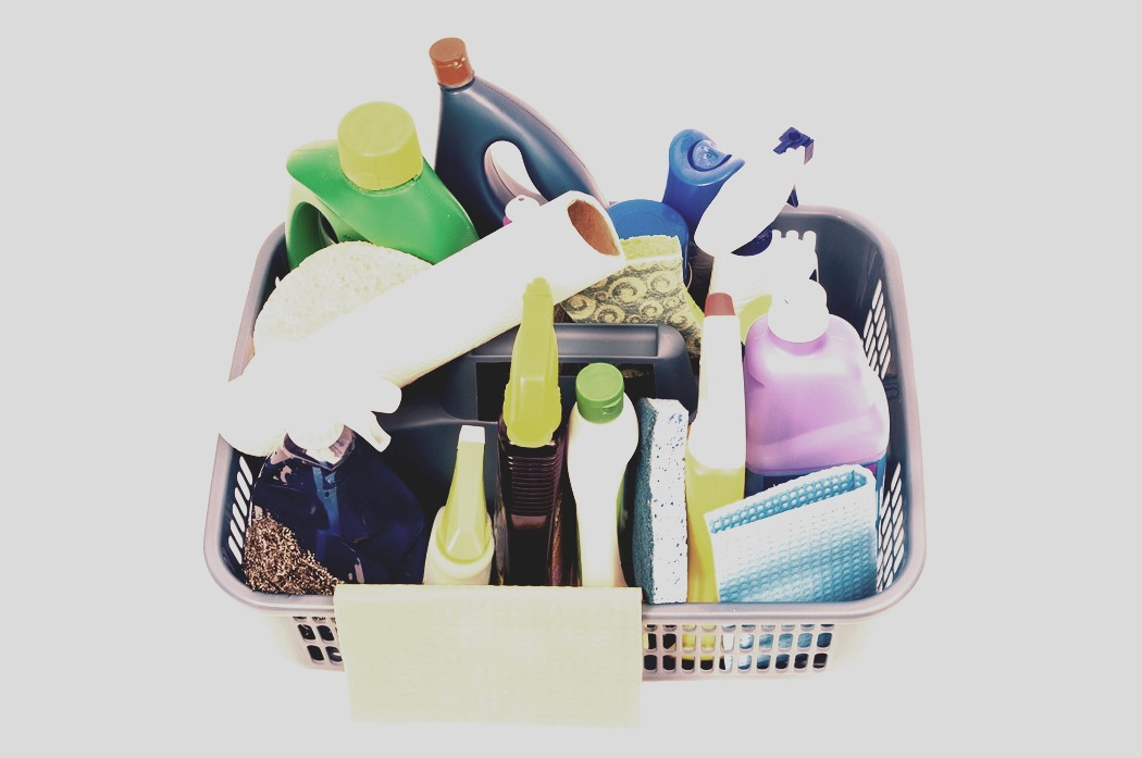 Put all your cleaning supplies your going to need throughout the house in a bucket to take around with you. Saves you time from having to run back and forth to get what you need.