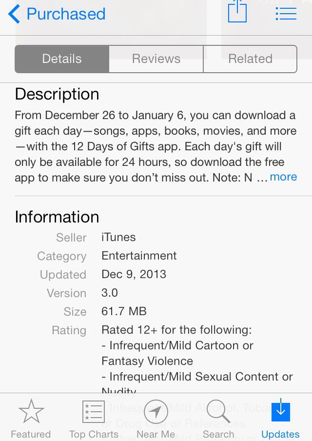Download App 12days Of Gift On Apple Store(free Gifts N Apps N Song