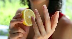 Rub a lemon on to the tips and all over your finger nails. make sure all nail polish is off.