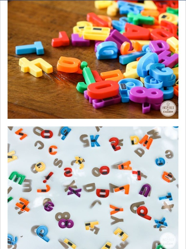 Great way to repurpose your kids magnet alphabet for a sheik look