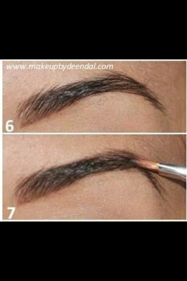 After that I fill my brows with powder and brush the excess powder off my brows