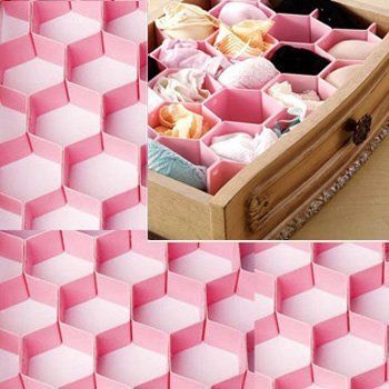 #4- Honeycomb drawer organizer  I can't help but love how cute this honeycomb drawer divider is! The pink color is just perfect for storing our girly intimate items.
