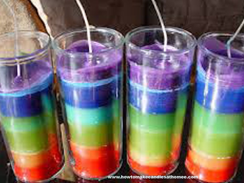 Glue the wicks(what you light) to the bottom of the empty candle holder. Melt the crayons and put one color in at a time waiting for each to dry before adding a new color unless you want them to mix! Then TADA you're done!