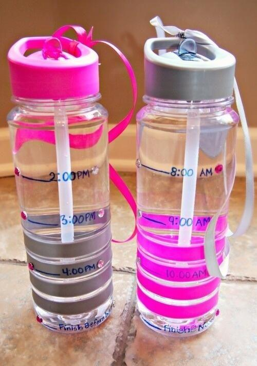 16. Make Drinking Enough Water A No-Brainer Use a permanent marker on one or more of your water bottles to give yourself water goals throughout the day. Keep it at your desk, in your car, on the counter, or wherever else it's handy and sip on it during the day, trying to stay within your goal.