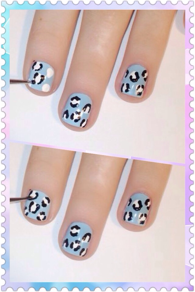 This step is also easier than it looks. Take the dotting tool and dip it into the color you are using. Then make little C-shaped brackets in group of 1,2, and 3. It's okay if it looks a little messy, they don't need to look exactly the same.