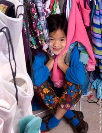 Childrens clothing  Stop doing the laundry until someone complains they don't have anything clean to wear. Whatever is still hanging in the closet can be donated — it's not being worn at your house anyway.