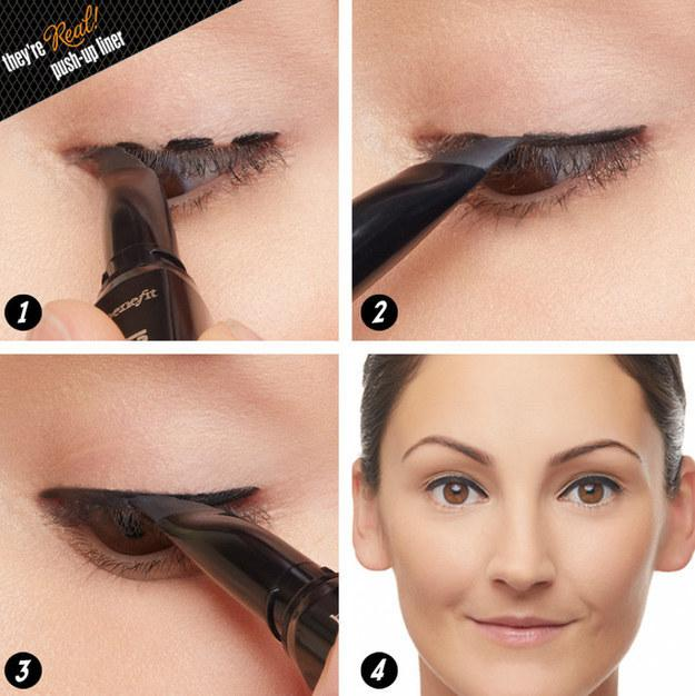 5. You can also do the same thing with dashes.  Decide what's easiest for you — and know that having the right type of liner and liner brush can make a big difference.