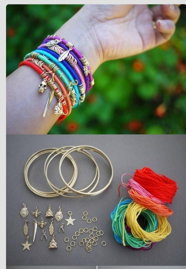 You will need some inexpensive bangle brackets. Colored string, pliers, glue, and some inexpensive charms you can get at your local craft store, with charm loops.