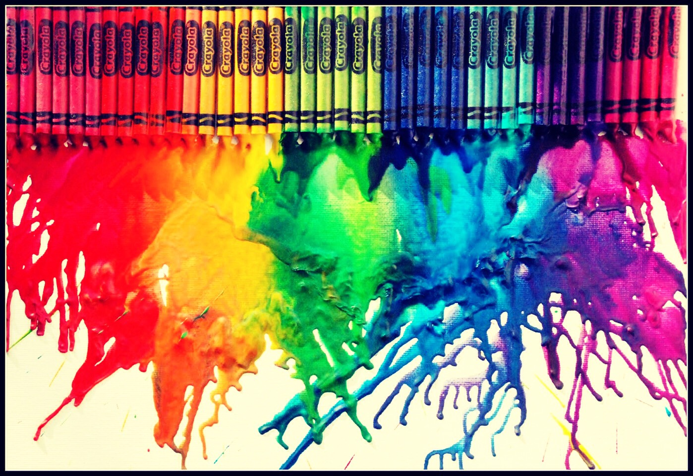 Keep melting the crayons and rinsing it out with every color  once you put the first layer put the  candle in the middle and wait until it harden then keep applying crayons