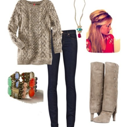Need an idea of an outfit for fall? This is perfect for fall considering the fact that knitted clothing is extremely in right now!