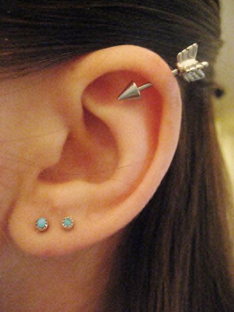 helix, upper and standard lobe piercing