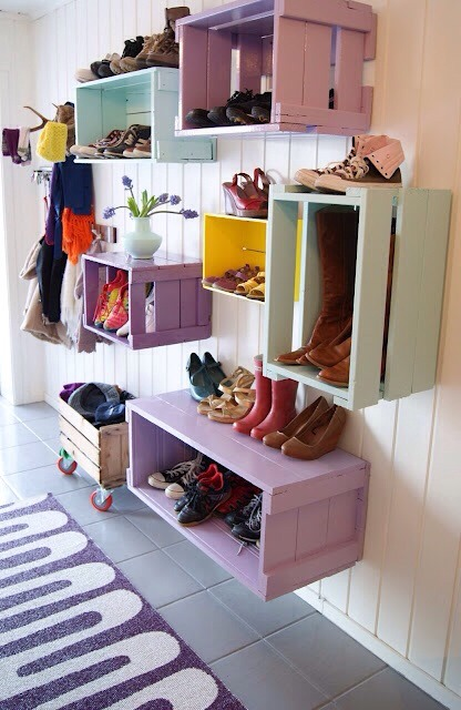 Entryway Storage  Colorful crates! Create a space for each member of the family to unload their shoes and bags.