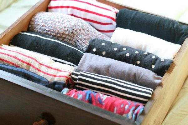This is a drawer of my t-shirts and tops. (Kondo recommends organizing tops from light to dark. I'm learning.)