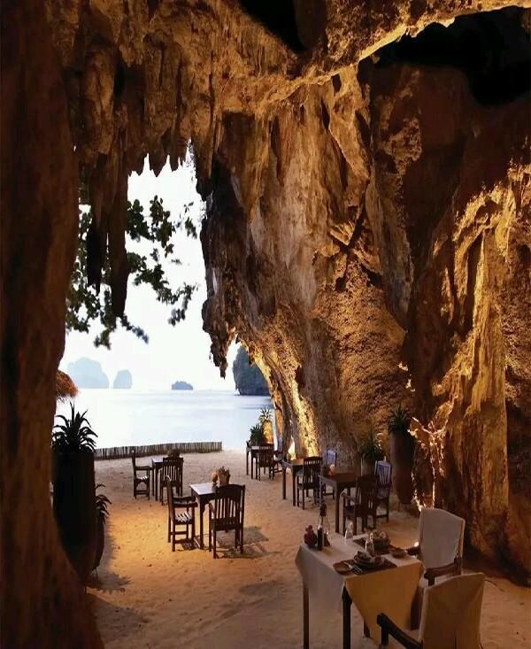 restaurant in cave , Thailand