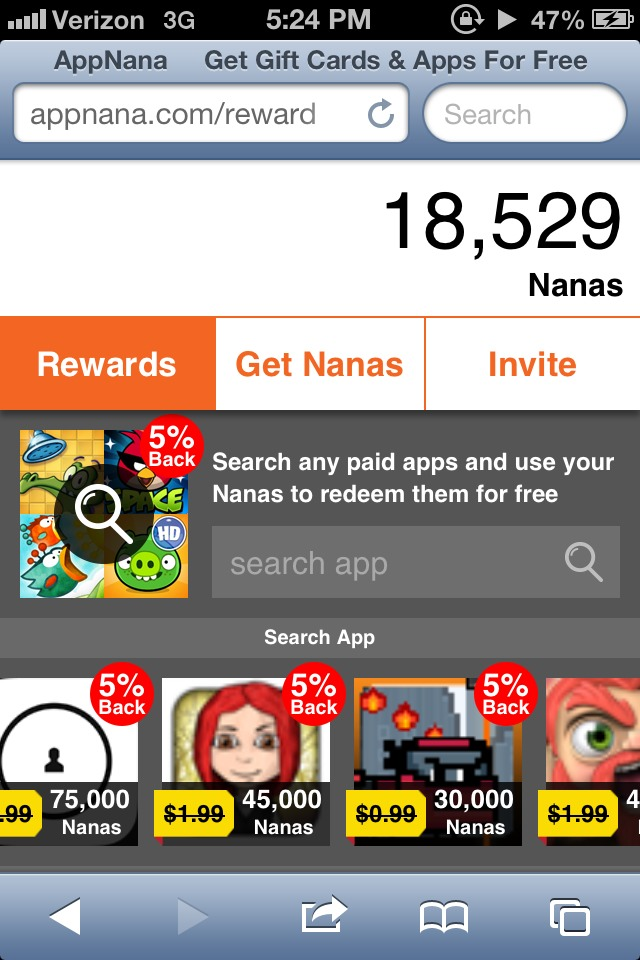 To use your points on apps, go to appnana.com