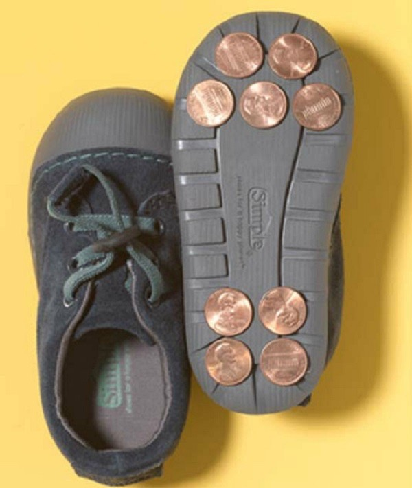 Stick pennies to shoes for instant tap dancing shoes!
