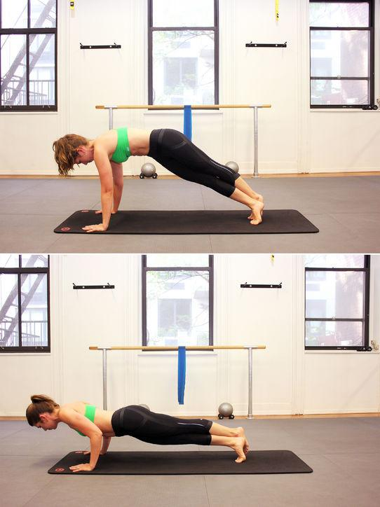 Start in a plank position and cross one foot in front of the other, rotating your hips toward the front foot so they face the side. Draw in your bottom hip using your abs and pike your hips up behind you. Lower your hips and return to the crossed-leg plank. pike and plank 10 times, then switch sides