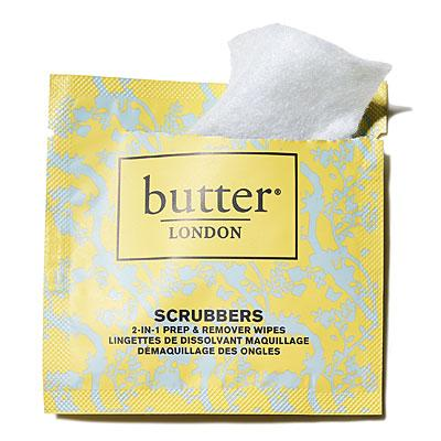 Polish remover  Butter London scrubbers ($10; sephora.com)  One wipe removes polish from all 10 fingertips with no mess. And it cleanses the nail bed, so your next coat of polish lasts longer, Wishan says.