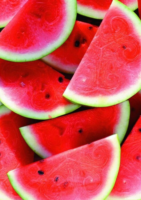 Watermelon - high water supply, lots of vitamin A and potassium, has protection against heart disease