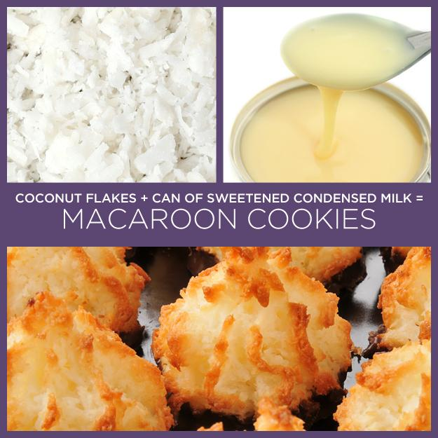 24. Coconut Flakes + Can of Sweetened Condensed Milk = Macaroon Cookies