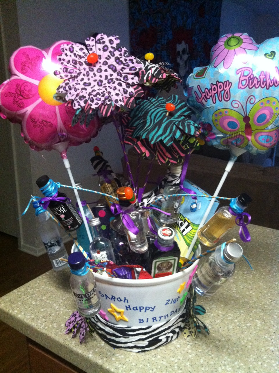 Liquor Bottle Gift Basket Good Idea For 21st Birthday