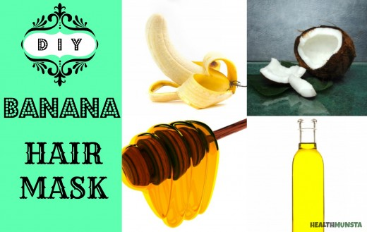 Go bananas with this hair mask! 1-2 overipe bananas (depends on length) 1 teaspoon coconut oil 1 teaspoon olive oil 1 tablespoon honey  Blend everything until smooth Slather smoothie on hair, let sit for 5 mins when time to rinse, rinse twice once with shampoo, once with water only.