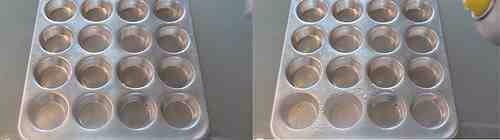 Spray muffin tin with cooking spray.