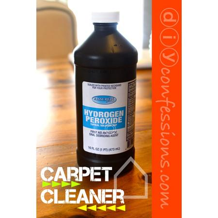 Hydrogen Peroxide Damp Cloth Saturate the stained section of your carpet with Hydrogen Peroxide. {I used a cloth saturated in Hydrogen Peroxide and soaked it that way. You can also use a sponge!}. Allow to sit for five minutes.Blot & scrub the stain with a damp cloth until it is removed.