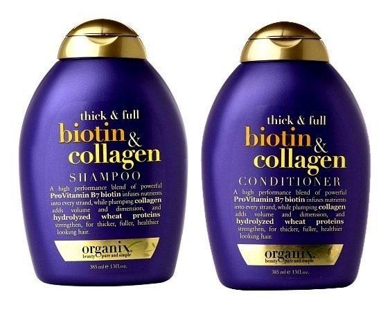 Organix Biotin and Collagen Shampoo and Conditioner are a *NEW* product out now. The Biotin in the product gives each strand healthy nutrients while the Collagen adds volume and dimension to fine, limp hair.