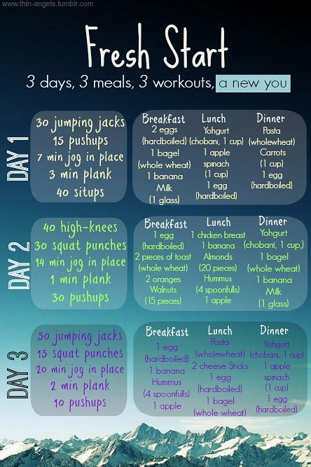 3 day exercise plan with food.