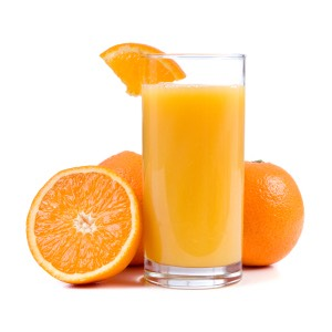 Orange Juice  This breakfast favorite doesn't contain added sugars, but you can find up to 9 grams of sugar in one glass of orange juice — almost as much as a glass of soda! The USDA recommends eating a whole orange instead, to get the added benefit of dietary fiber