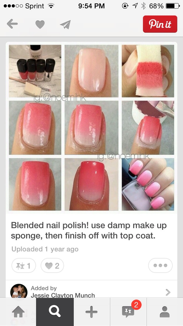 Paint the colors you want on the sponge and then blot them on your nail. This will make your nails ombré(: