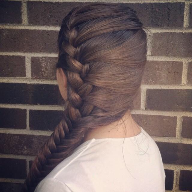 A French braid into a fishtail on the side