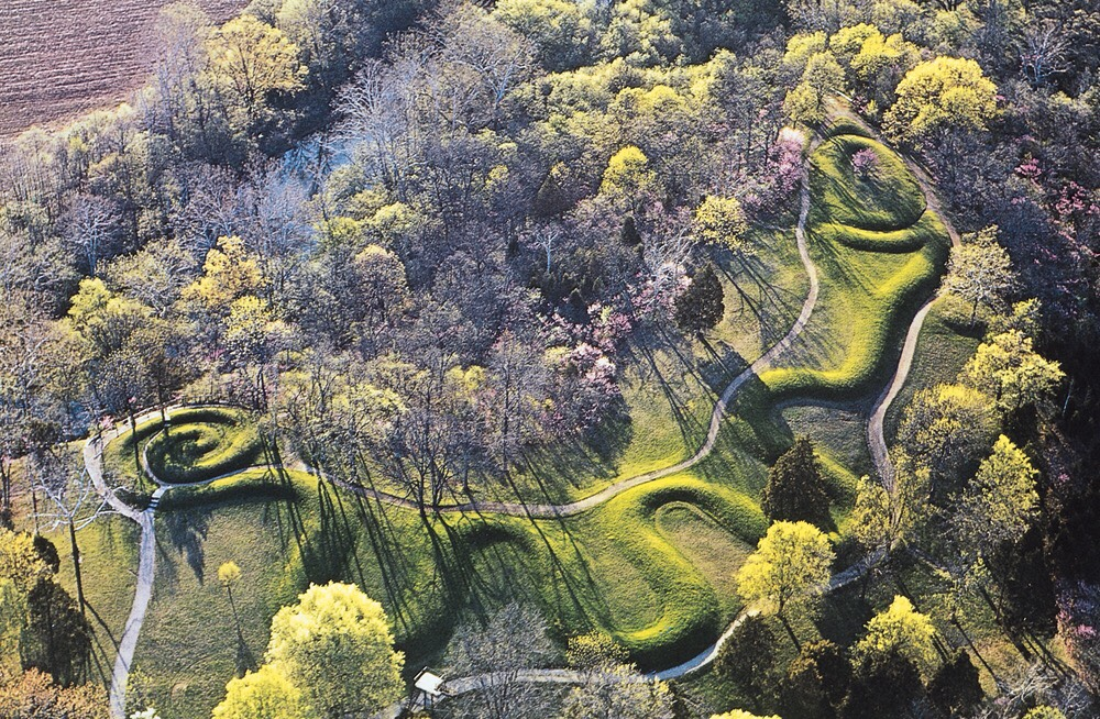 The Great Serpent Mound   Truly a site to behold, the Great Serpent Mound in southwest Ohio is the worlds largest serpentine effigy mound yet discovered. Writhing in a seemingly effortless way, the mound winds through trees on a cliff overlooking the Brush Creek valley of Adams County.