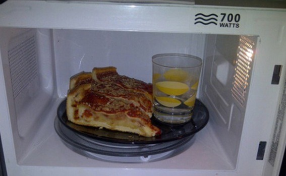 Reheat left over pizza or doughy foods I. The microwave with a cup of water to keep it moist