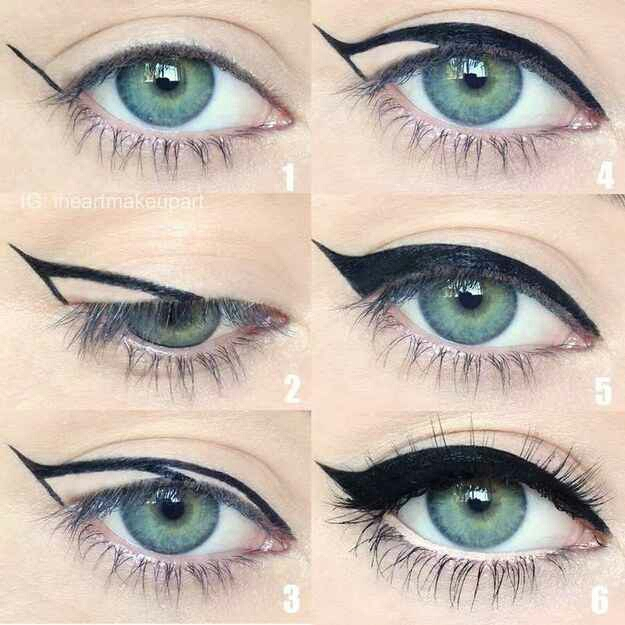 22. Winged eyeliner is a whole lot easier with this trick. To get the perfect flick in Step 1, hold your eyeliner diagonally on your face from the corner of your nostril up to the corner of your eye. Where the pencil hits at your eye will be the perfect angle for you.