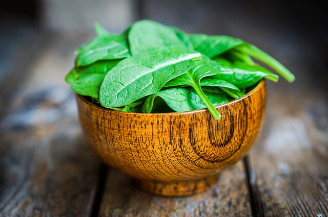 spinach is full of vitamin c and a which acts almost like an antioxidant inside the body
