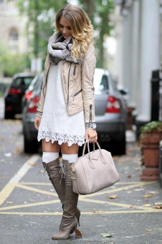 6. Beautiful Winter Cocktail Dress With Tights Or Thigh-High Socks
