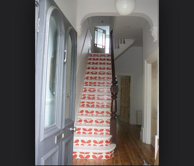 Instead of having a carpet like everyone else, wall paper the bottom of each step! And paint the top of the step! 😍