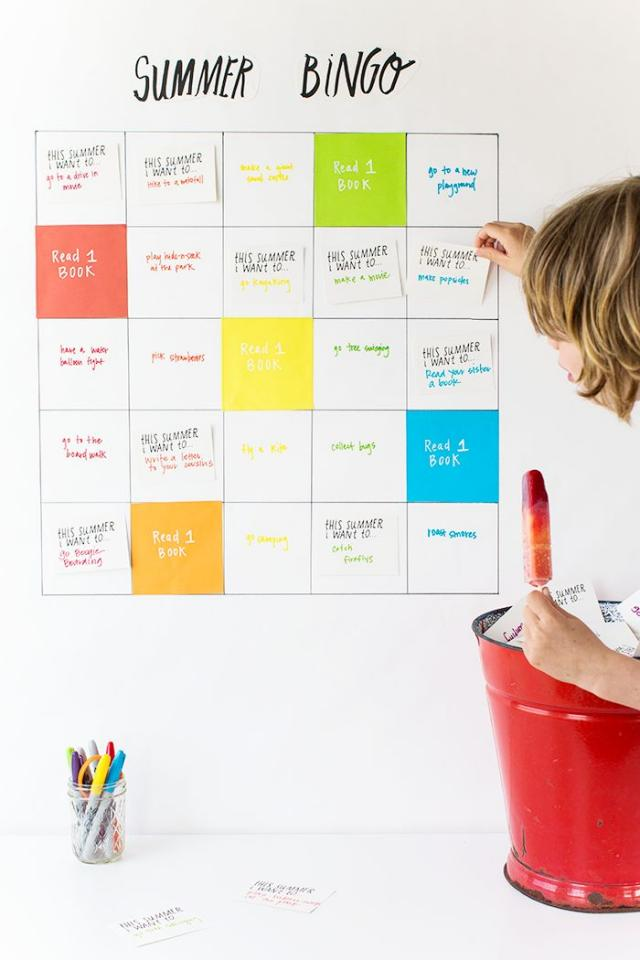 Summer bingo!! Make a bingo chart of all the things you'd like to do this summer. This is a great idea for kids or siblings, or even for yourself and your friends. Check it out here:  http://sayyes.com/2015/06/summer-bucket-list-bingo.html?utm_content=buffer954ec&utm_medium=social&utm_source=pinte